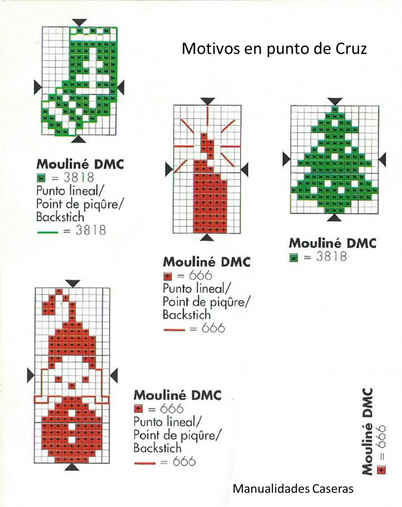 Manualidades Caseras Faciles patrones de punto de cruz de motivos navideños