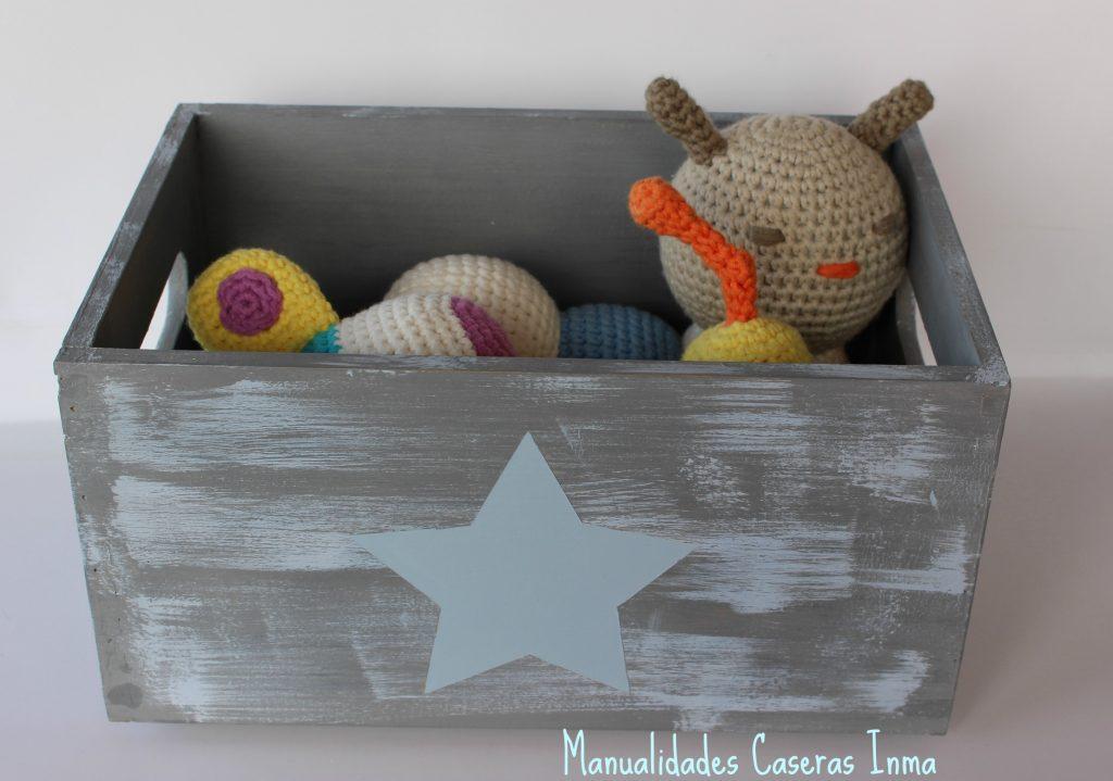 Manualidades Caseras Inma Caja de madera con estrella Chalk Paint azul