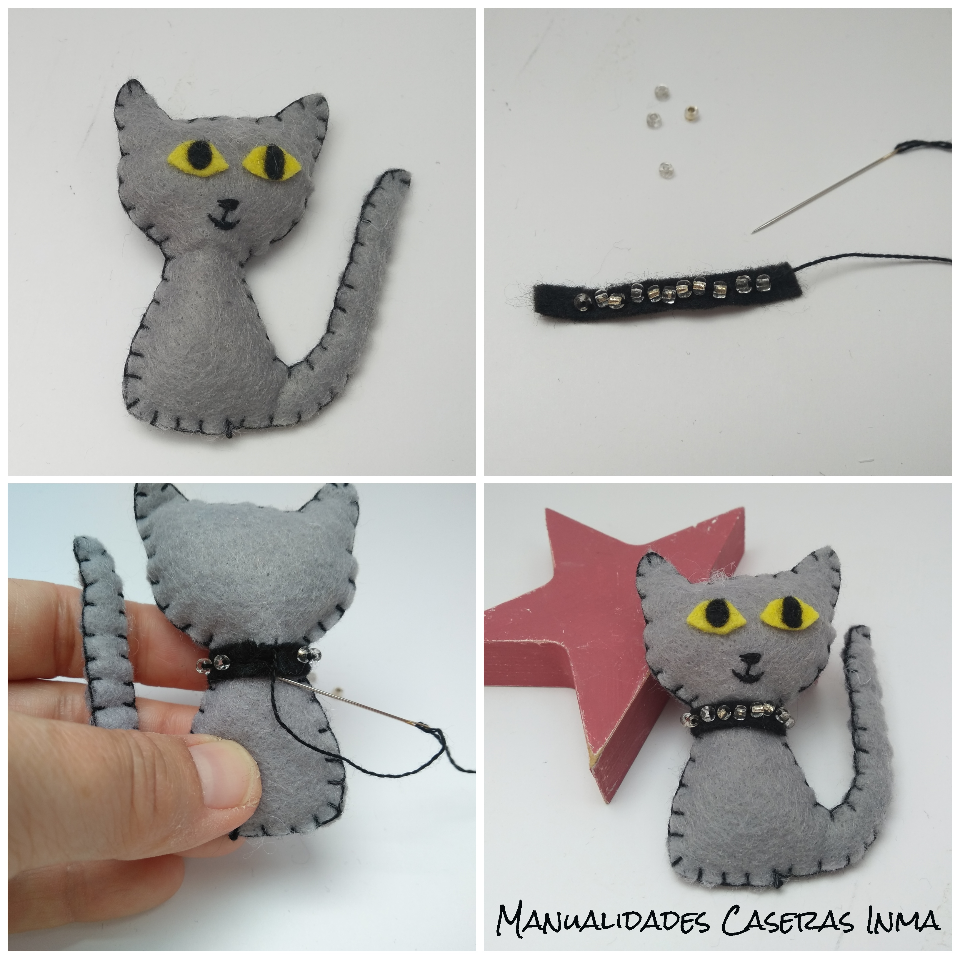 Manualidades Caseras Inma_ broche de gato_ Como hacer y poner el collar al broche de gato