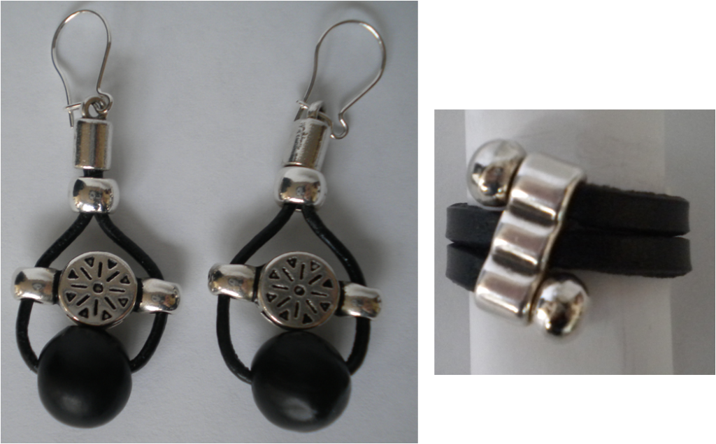 manualidades caseras faciles pendiente y anillo en cuero y zamak