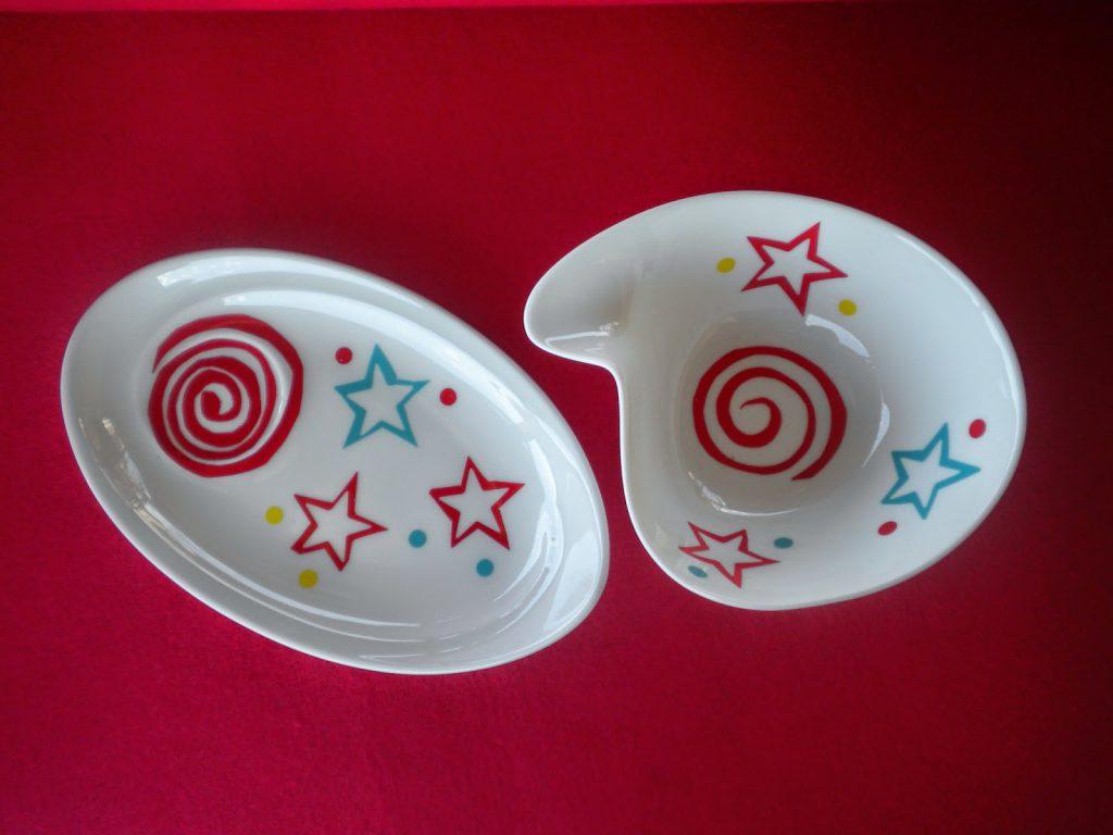 Manualidades Caseras Inma_ calcas cerámicas con dibujos geométricos y estrellas