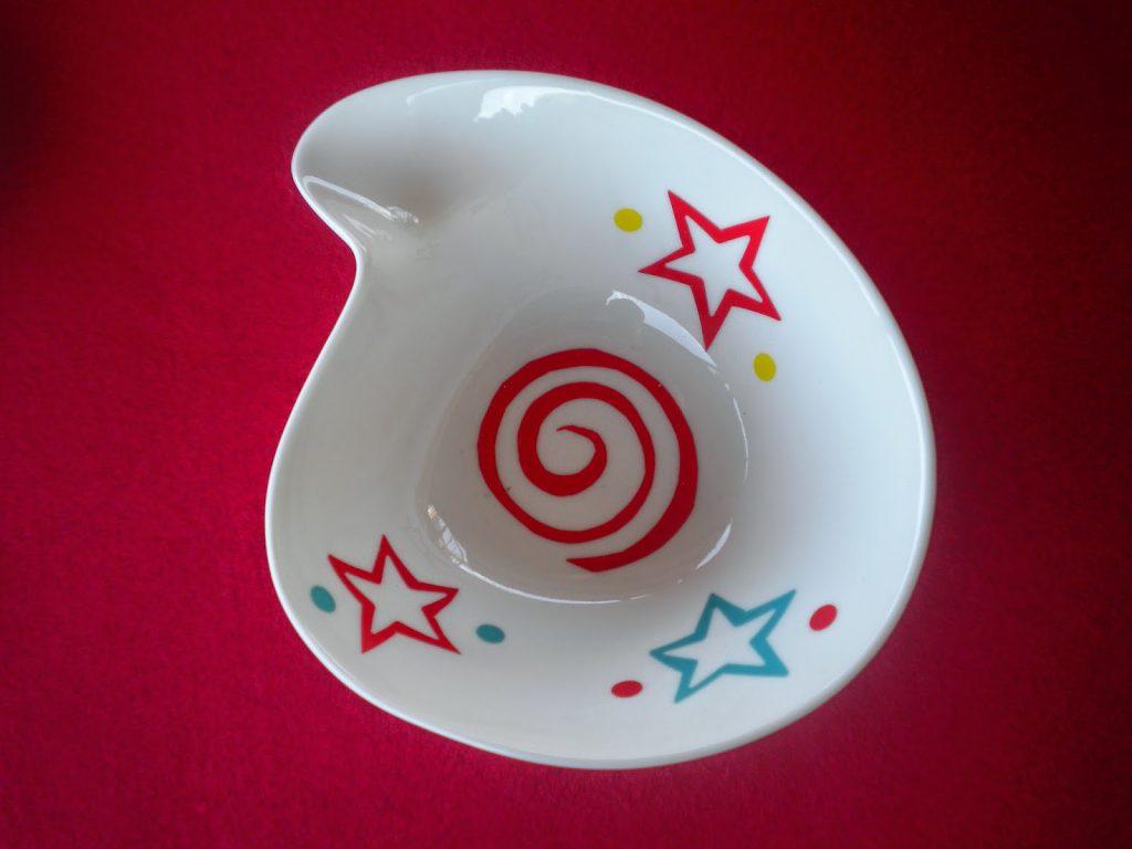 Manualidades Caseras Inma_ calcas cerámicas con dibujos geométricos y estrellas en porcelana