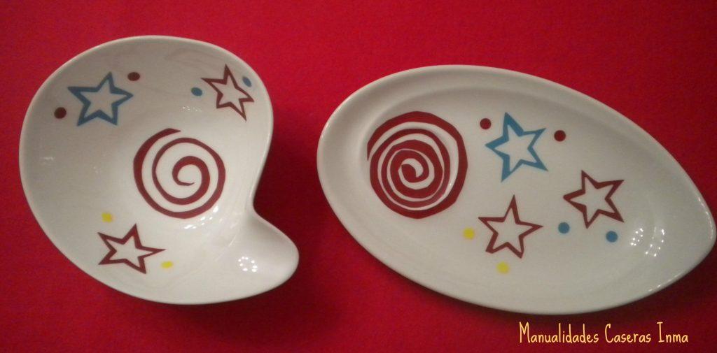 Manualidades Caseras Inma_ Calcas cerámicas estrellas y espirales