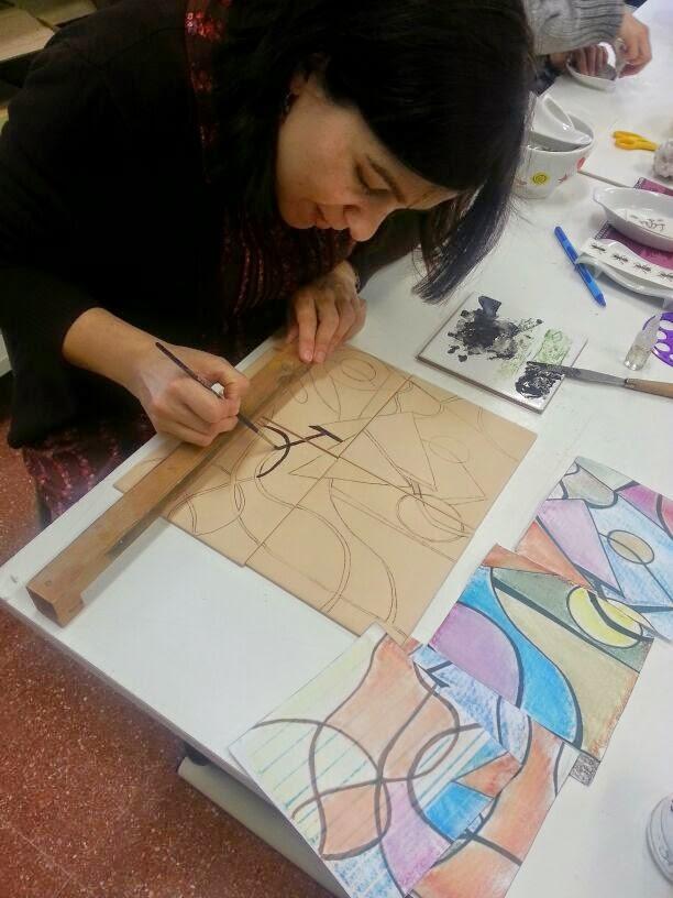 Manualidades caseras Inma  realización de mural de cuerda seca