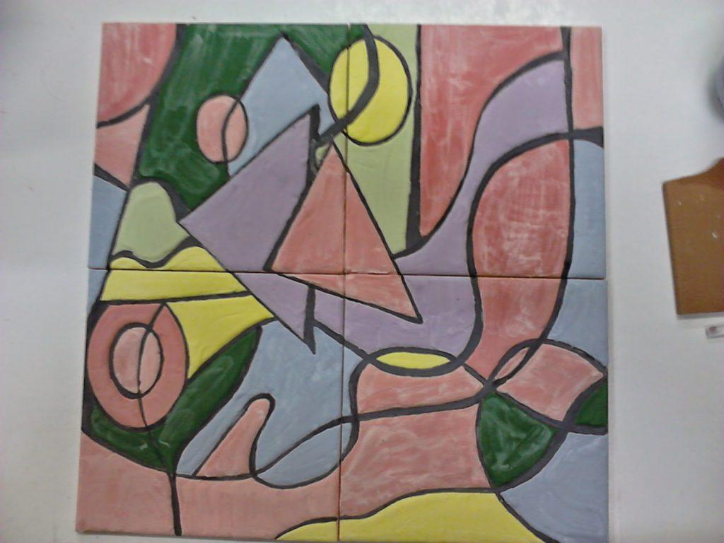Manualidades caseras Inma mural de cuerda seca listo para entrar en el horno