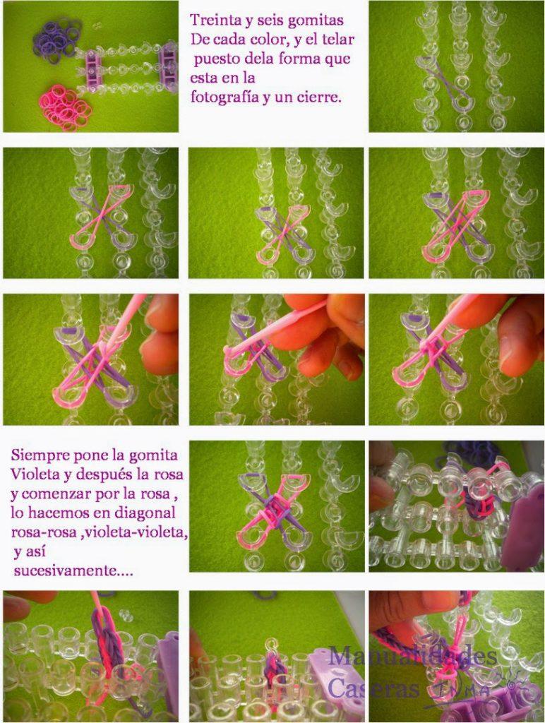 Manualidades Caseras Faciles Tutorial Pulseras de gomitas a rayas rosa con telar