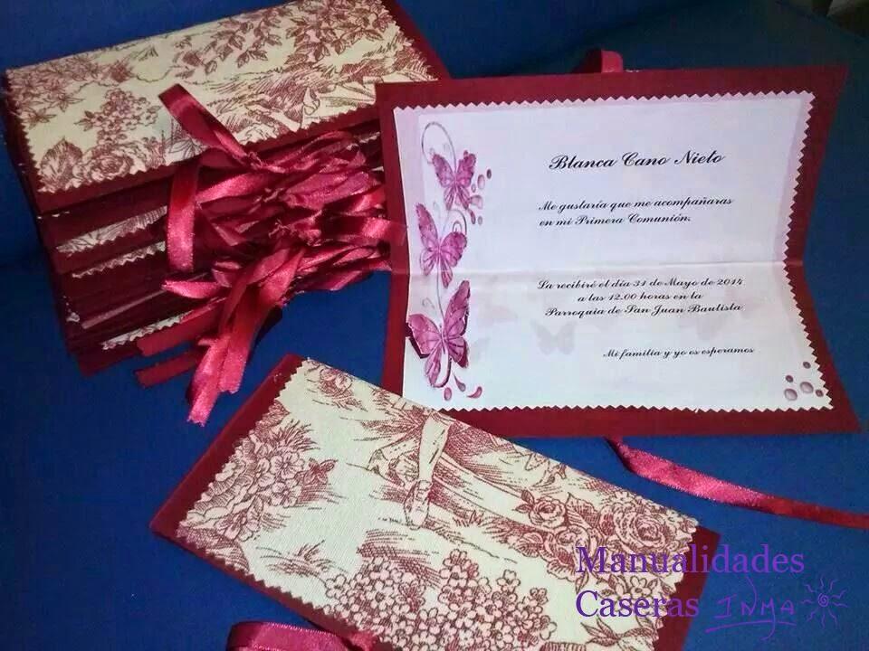 Manualidades Caseras Faciles Tarjeta de invitación comunión de tela y cartulina