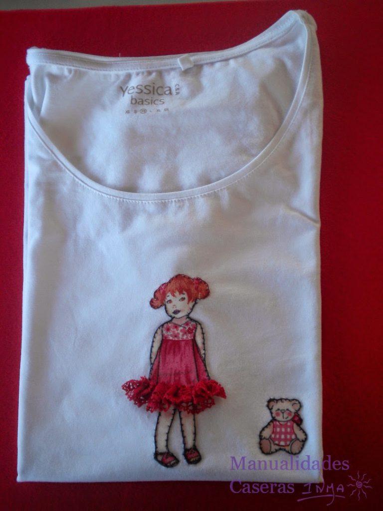 Manualidades Caseras Inma Camiseta decorado con niña recortable con falda de volantes