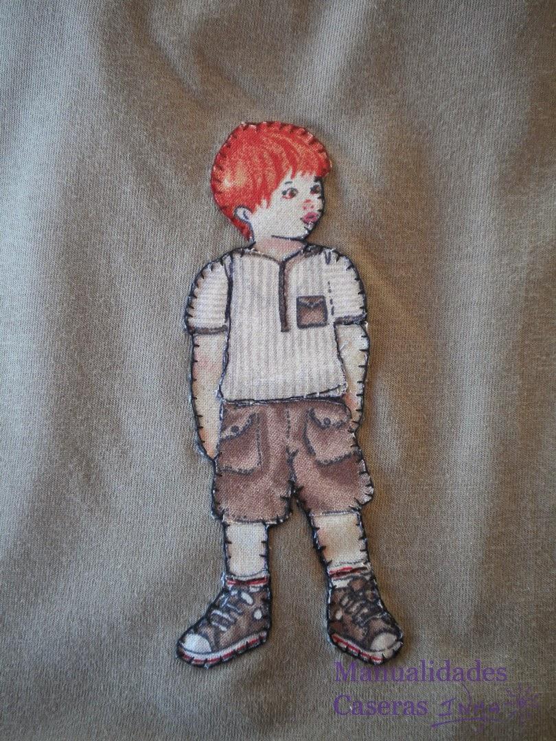 Manualidades Caseras Inma Camisetas decorados con muñeco niño detalle