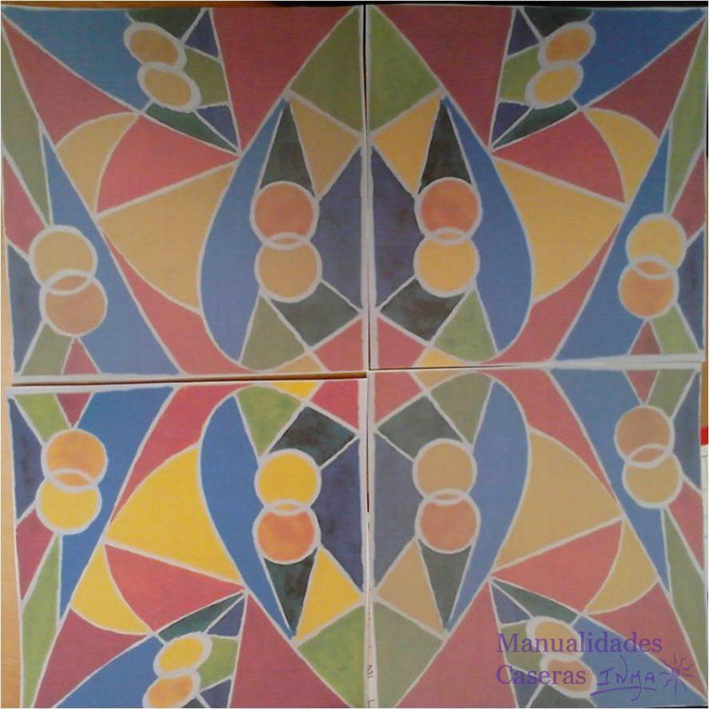 Manualidades Caseras Faciles diseño de figuras geometricas para mural de cuerda seca de colores