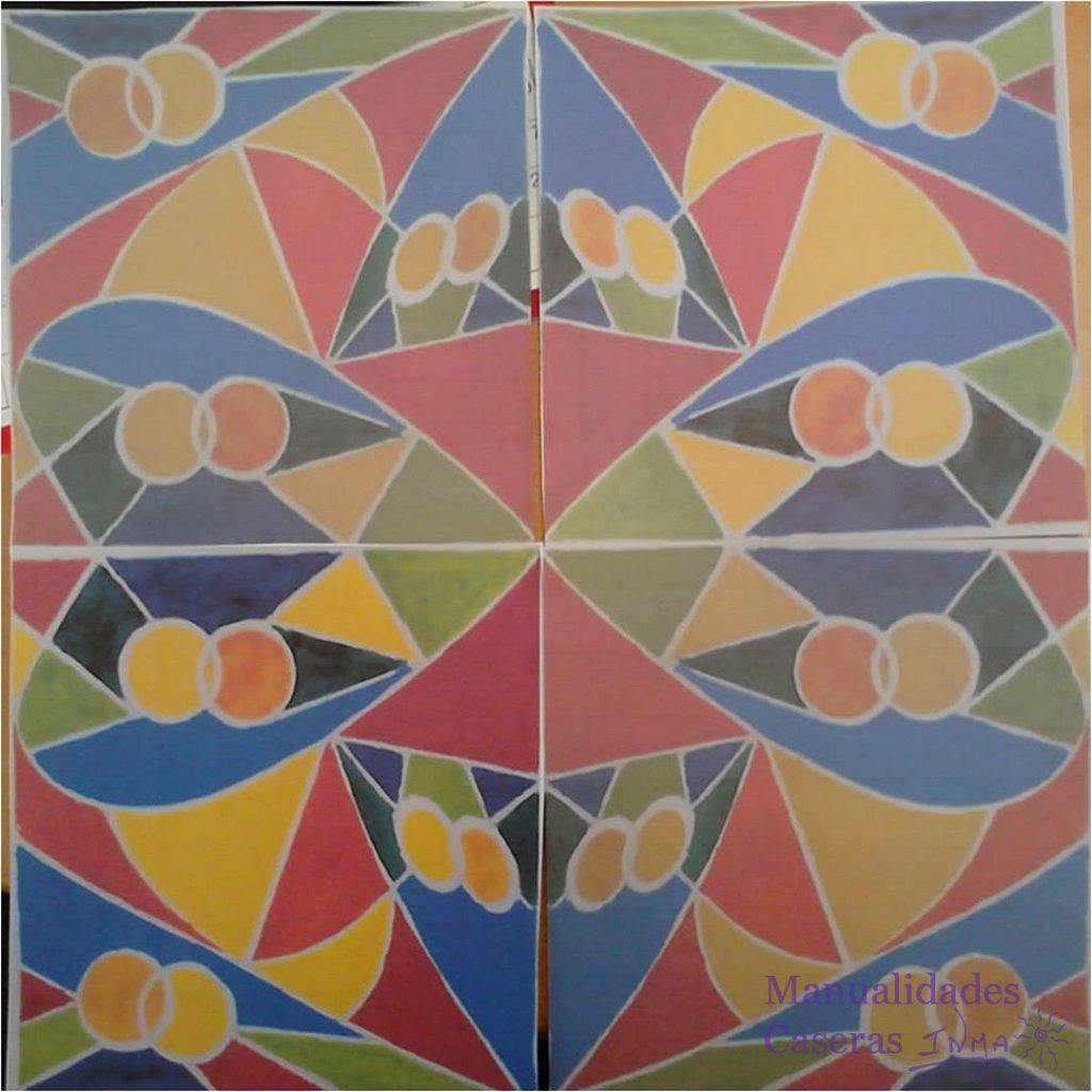 Manualidades Caseras Faciles Diseño para mural de cuerda seca de colores