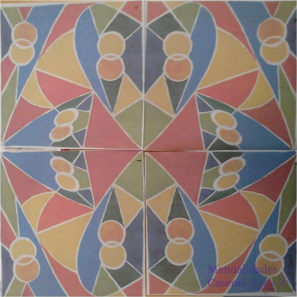 Manualidades Caseras de figuras geometricas para mural de cuerda seca de colores