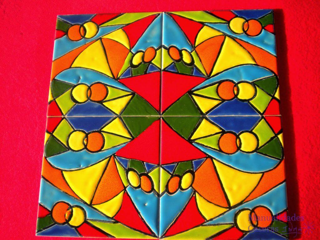 ManuaManualidades Caseras Faciles Mural de cuerda seca de figuras geométricas de colores
