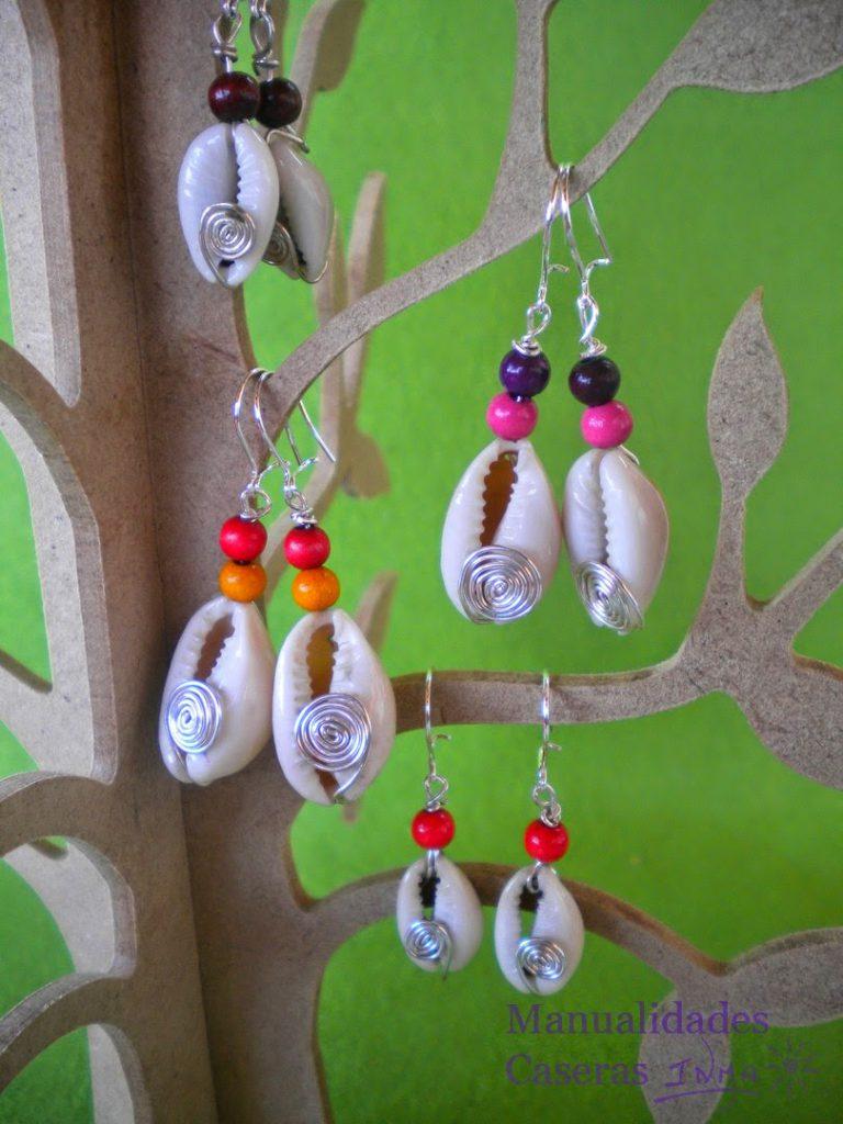 Mualidades Caseras Faciles pendientes Conchas y bolas de madera