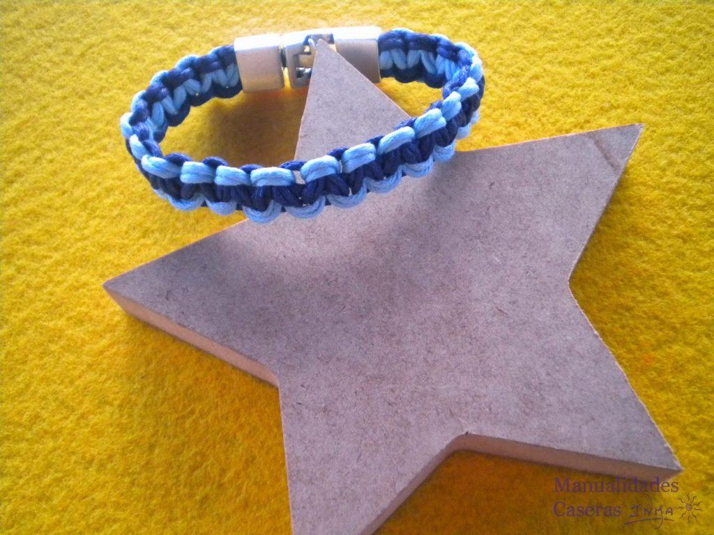 Manualidades Caseras Faciles Pulsera de macrame Doble color azul oscuro y claro