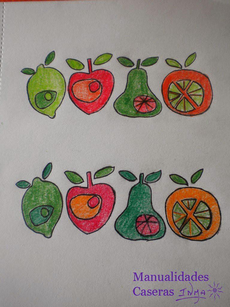 Manualidades Caseras Inma pruebas de color de boceto para maceta de Cerámica decorada con frutas