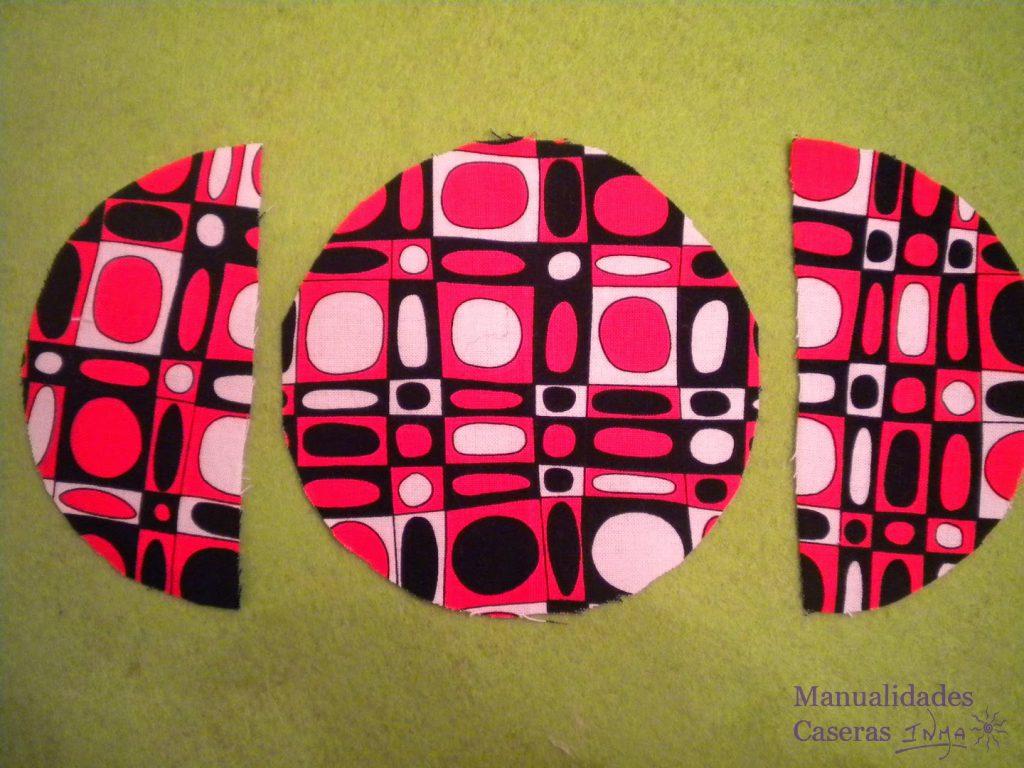 Manualidades Caseras Inma tela de formas geométricas roja y negra para hacer un guarda auriculares