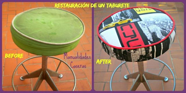 Manualidades Caseras Inma_ restauración de un taburete_ El antes y el después del taburete