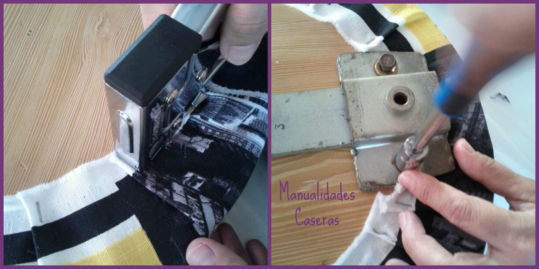 Manualidades Caseras Inma_ restauración de un taburete_ como grapar la tela al taburete