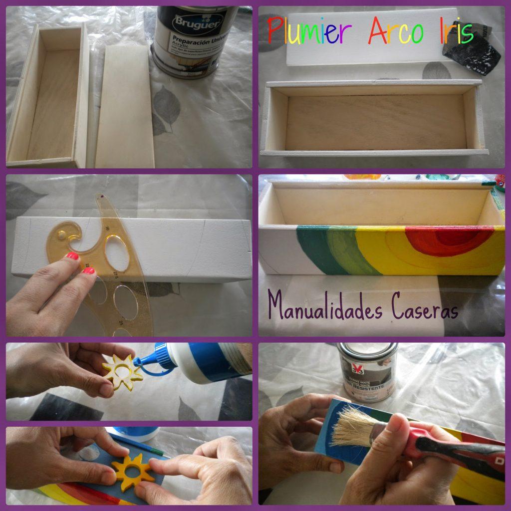 Manualidades Caseras Fáciles Como decorar un plumier con el Arco Iris