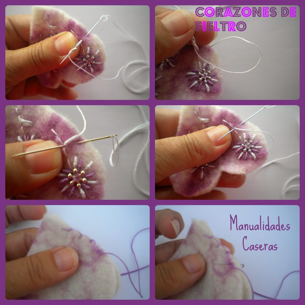 Manualidades Caseras Inma Como decorar un corazón de fieltro de color violeta con flores