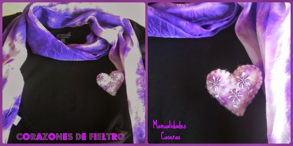 Manualidades Caseras Inma Corazón de fieltro de color violeta