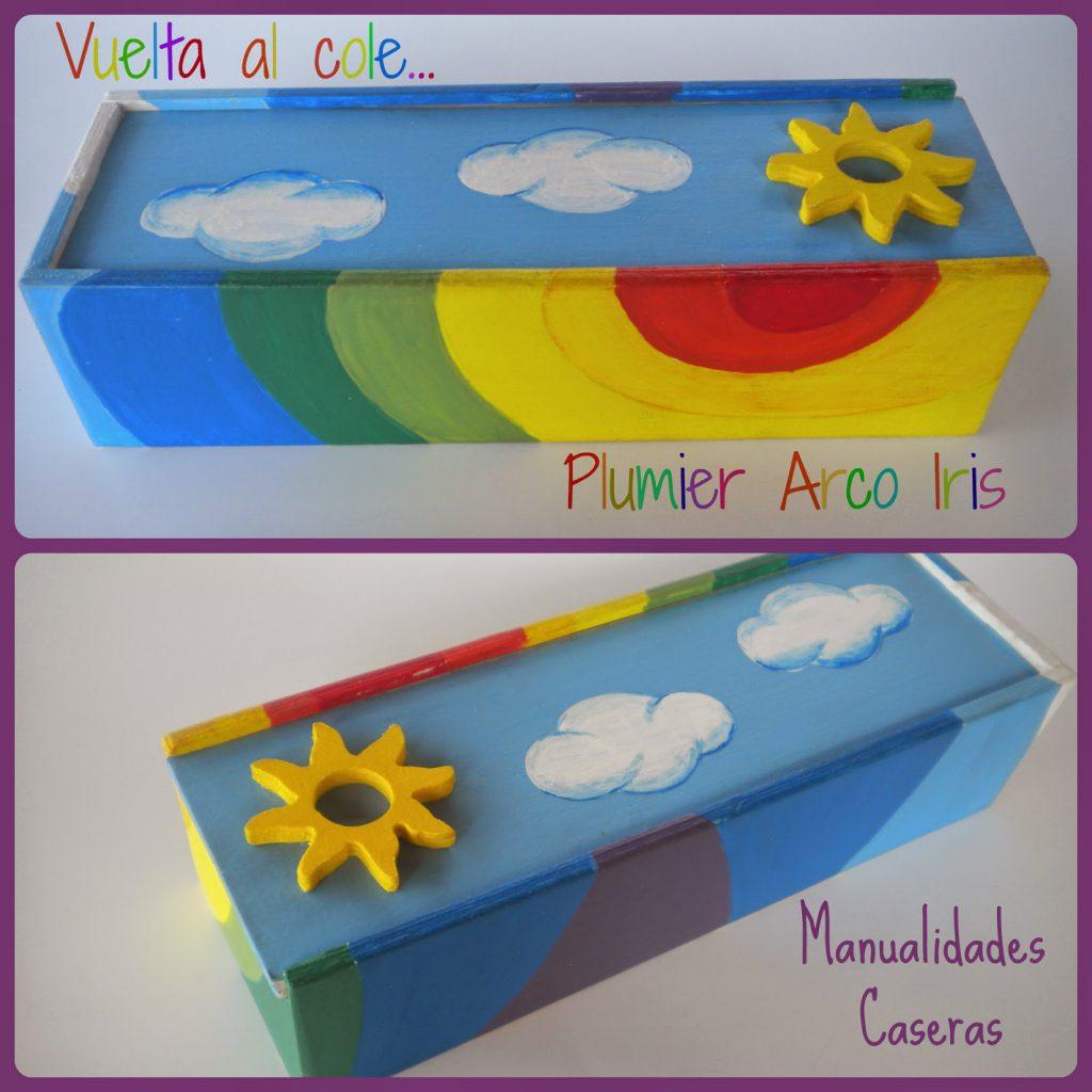 Manualidades Caseras Fáciles Plumier Arco Iris hecho de madera