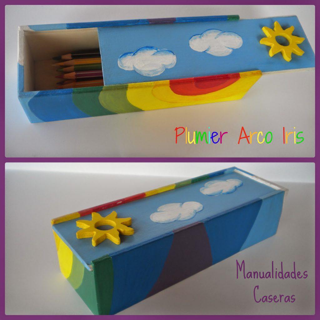 Manualidades Caseras Fáciles Plumier Arco Iris de madera