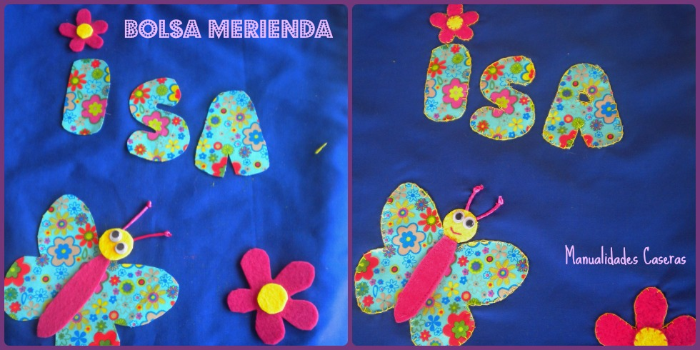 Manualidades Caseras Inma_ como pegar la decoración de la bolsa merienda