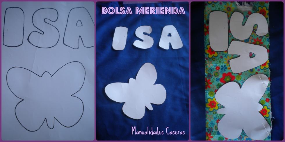 Manualidades Caseras Inma_ detalle del diseño de bolsa merienda para el colegio_ Molde de letras y mariposa