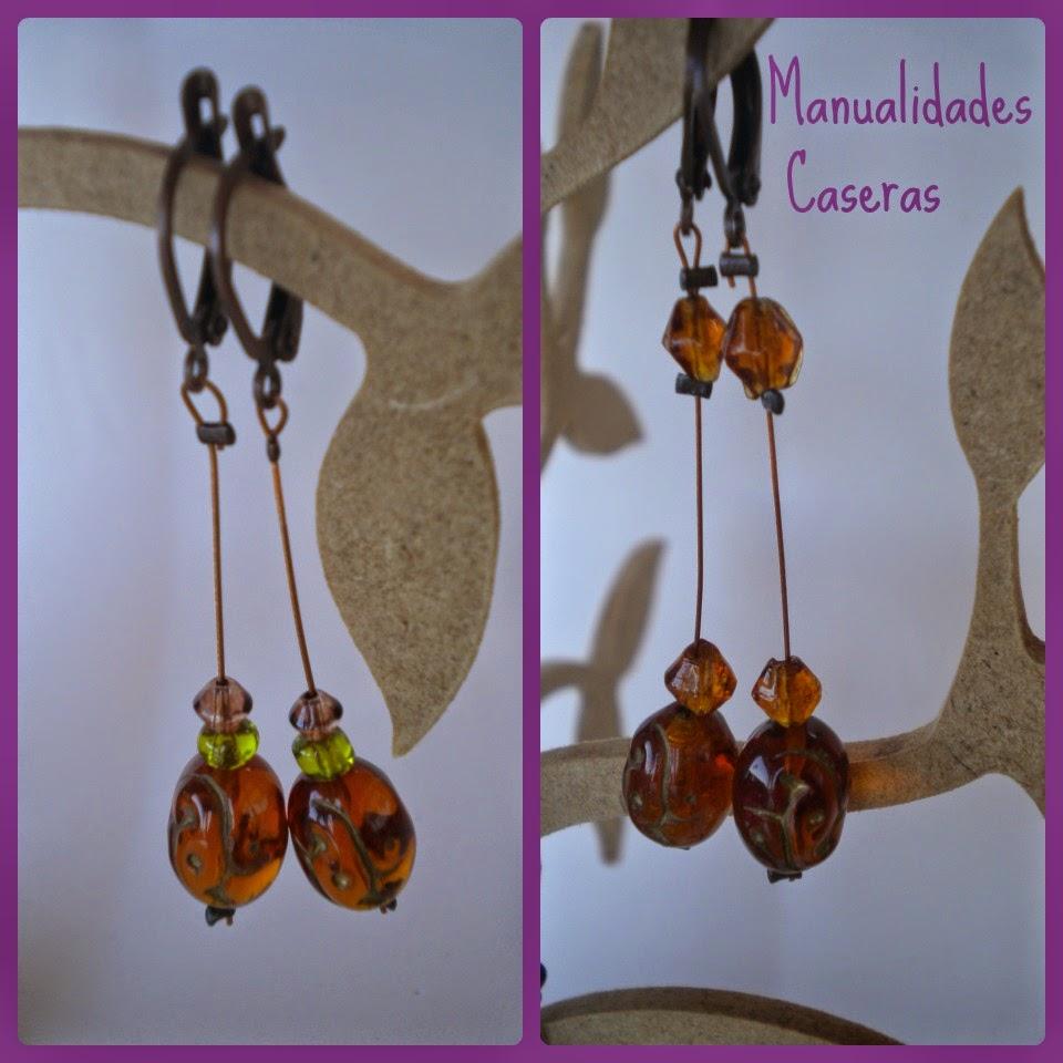 Manualidades Caseras Inma Pendientes de piedras con hilo de metal color marron