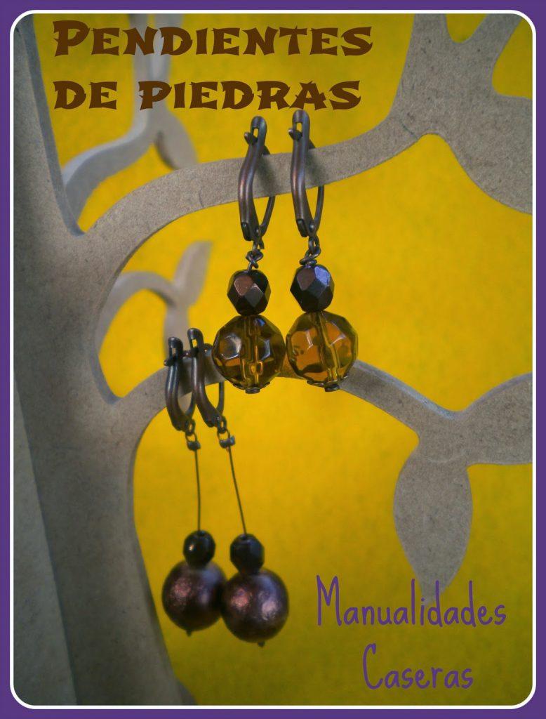 Manualidades Caseras Inma Pendientes de Piedras ,bastones e hilo de metal