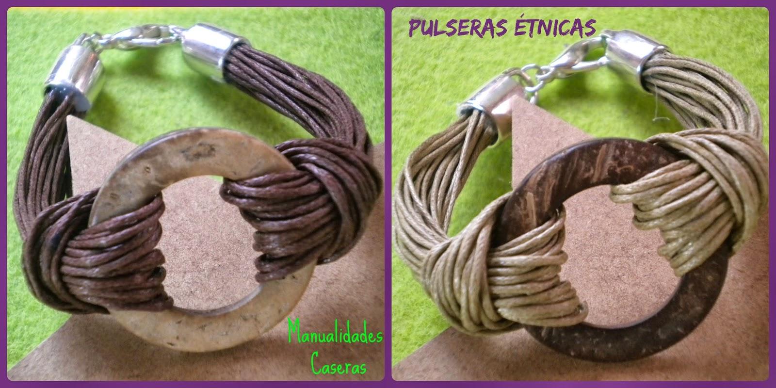 fdb1b790bde9 Pulsera Étnica con piezas de coco  Manualidades Caseras Inma