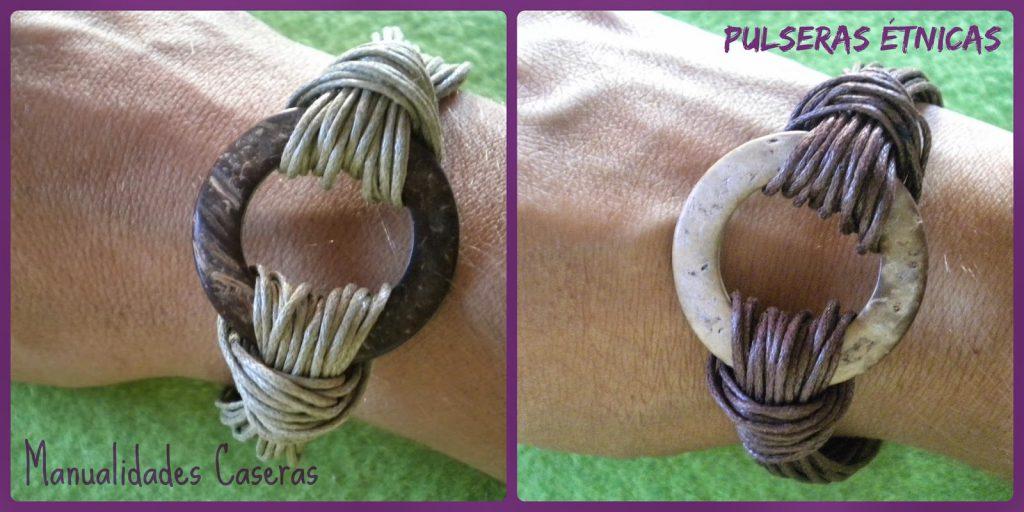 Manualidades caseras faciles pulsera étnica con hilo encerado y pieza de coco
