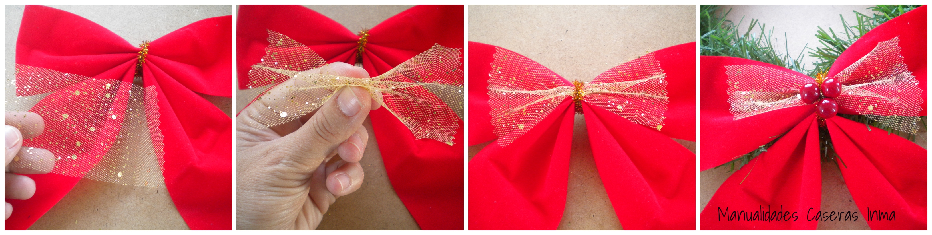 Manualidades Caseras Inma_ Como hacer la decoración del lazo una corona de navidad low cost