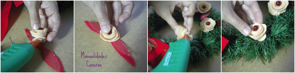 Manualidades Caseras Inma_ Como pegar la decoración de fieltro en una corona de navidad low cost