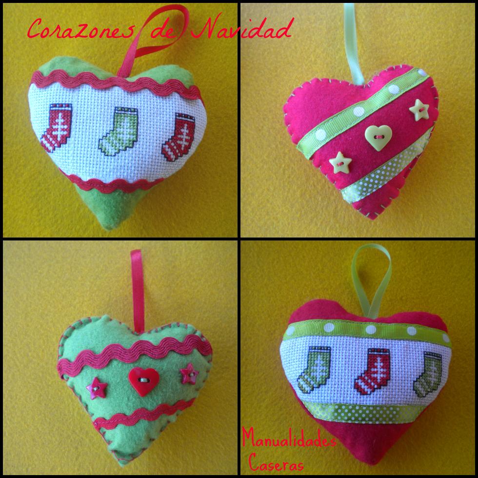 Manualidades Caseras Faciles corazones de navidad hechos de fieltro y punto de cruz