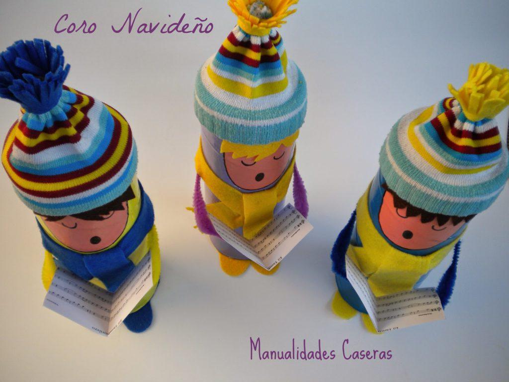 Manualidades Caseras Faciles Coro Navideño de tres niños cantores