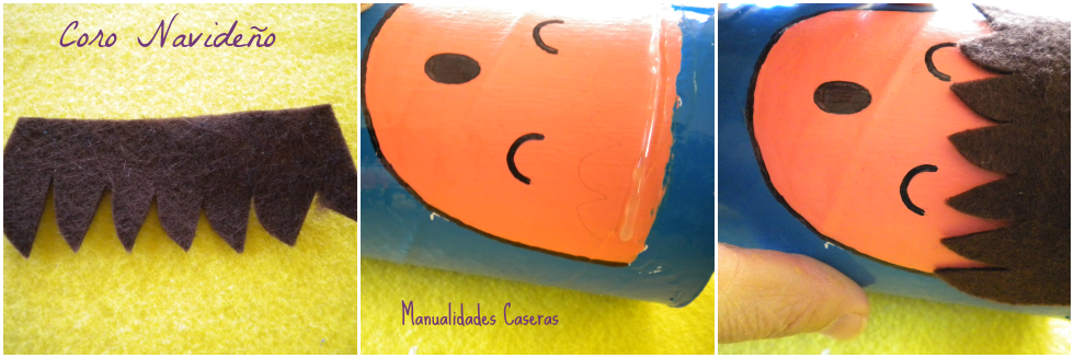 Manualidades Caseras Faciles proceso de pegado del pelo de los niños de Coro Navideño