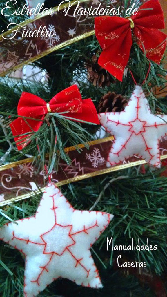 Manualidades Caseras Faciles estrellas navideñas de fieltro para el arbol