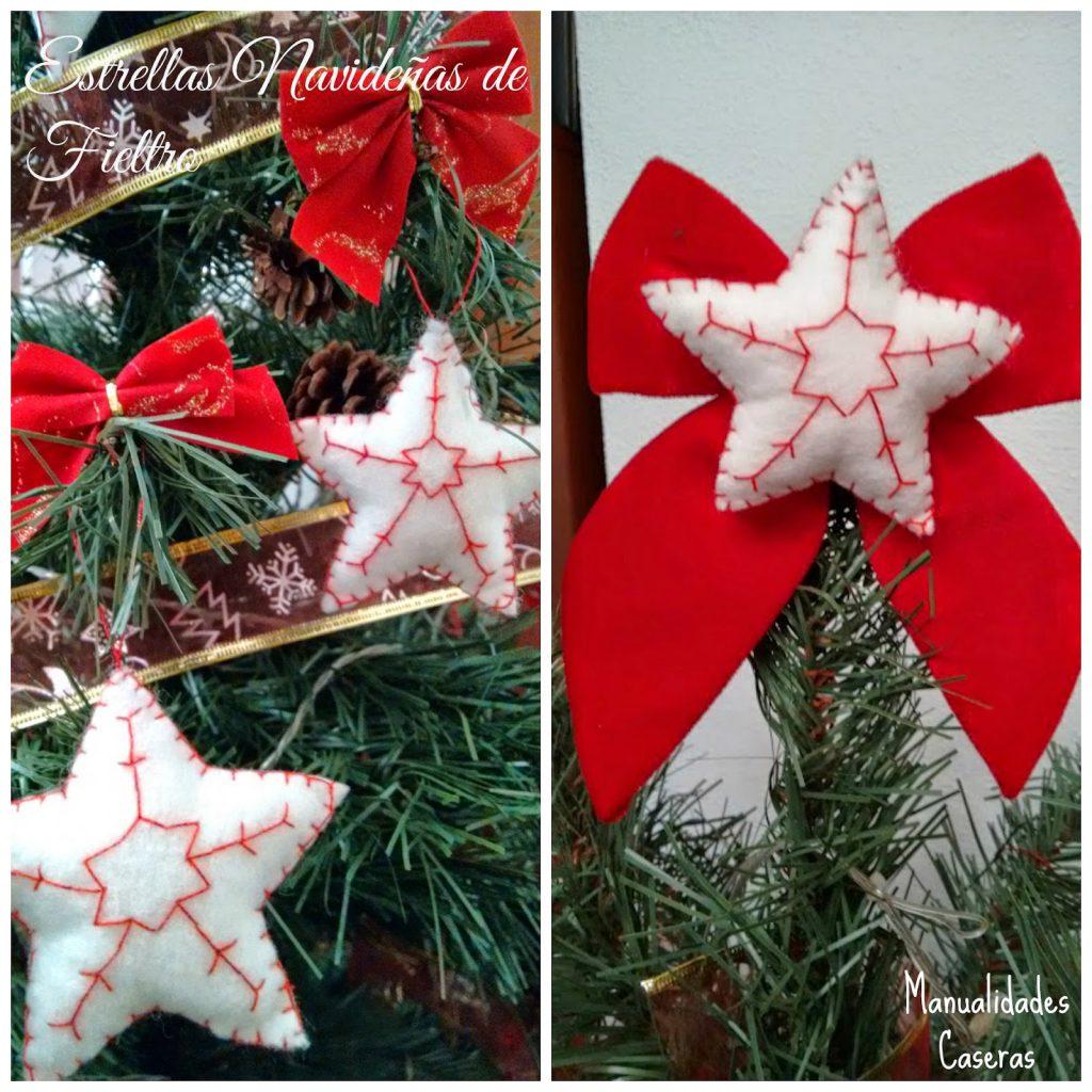 Manualidades Caseras Faciles estrellas navideñas de fieltro para decorar el arbol
