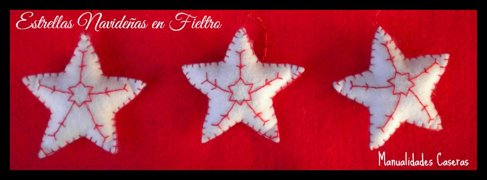 Manualidades Caseras Faciles estrellas navideñas pequeñas en fieltro