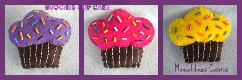 Manualidades Caseras Faciles Diferentes modelos de Broche Cup Cake de fieltro