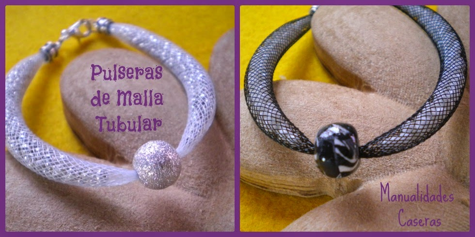 Manualidades Caseras Faciles Pulsera de malla tubular y rocalla de cristal