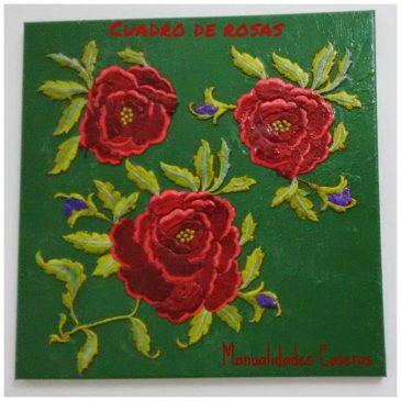 Manualidades para decorar : Cuadro rosas recicladas de un mantón de manila