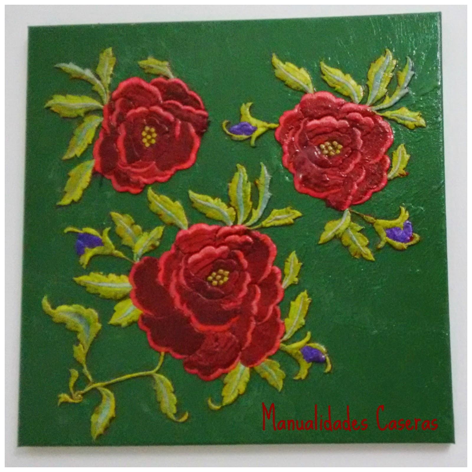 Manualidades Caseras Inma_ Cuadro rosas rojas recicladas de un manton de manila