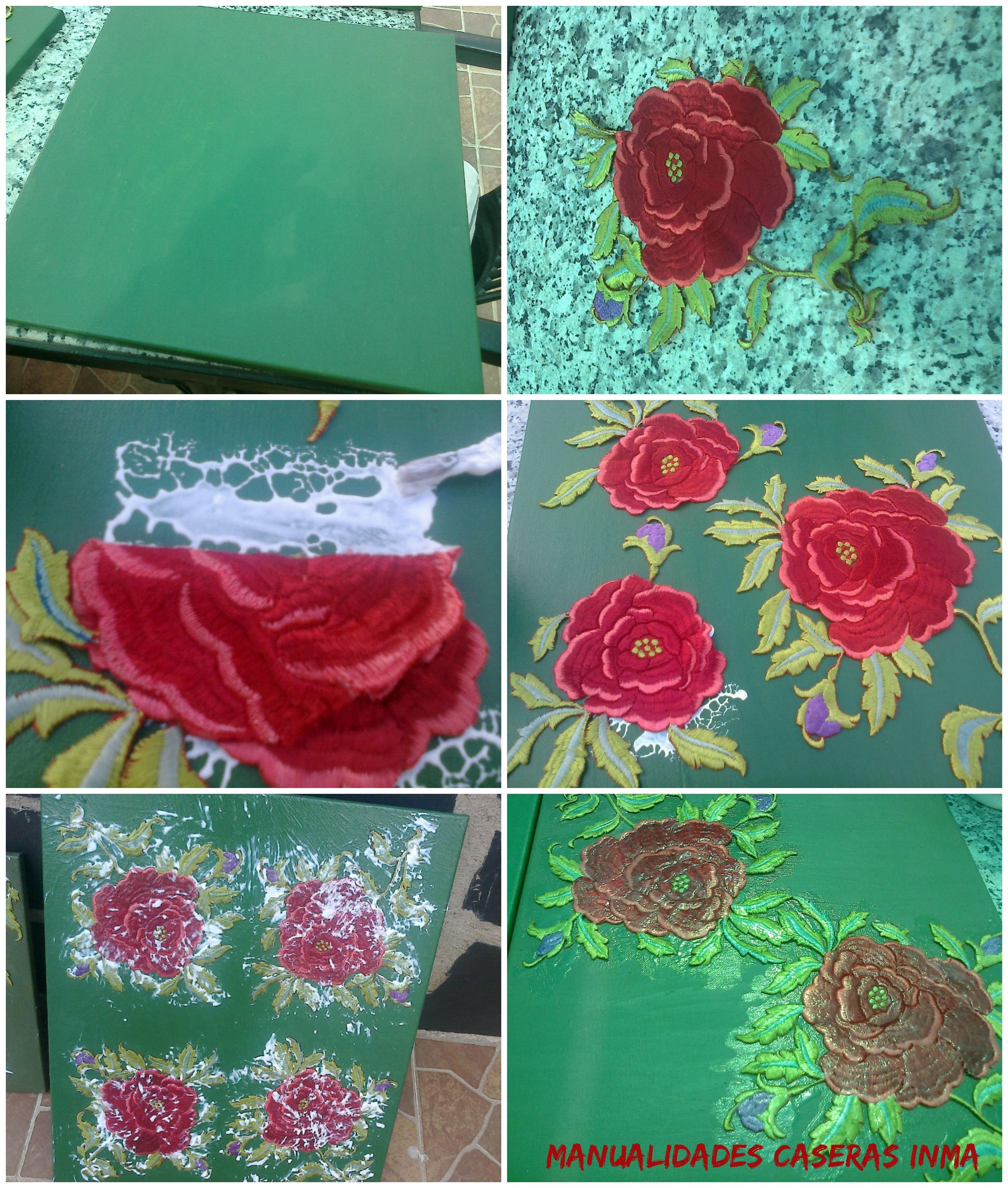 Manualidades Caseras Inma_ Cuadro rosas recicladas de un manton de manila _tutorial
