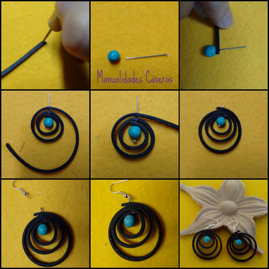 manualidades caseras faciles como hacer unos pendientes de cuero plano marrón y perlas azules