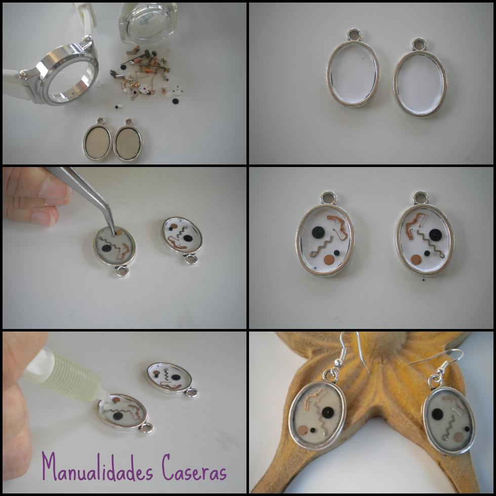 manualidades caseras faciles como hacer unos pendientes de maquinaria de reloj