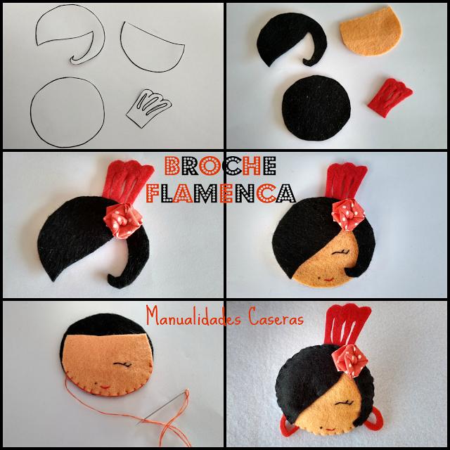 Manualidades Caseras Faciles como hacer un broche de flamenca con flor de lunares